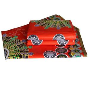 tessuto in cotone 100% cera africana per abiti da camicia, sciarpa, materiale da cucito fatto a mano, grande piccola stampa rossa fai-da-te