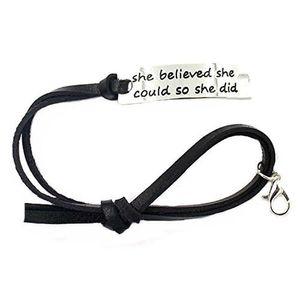 2018 Hot Sale Letter Bracelet She Believed She Could So She Did Black Leather Curved Bracelet