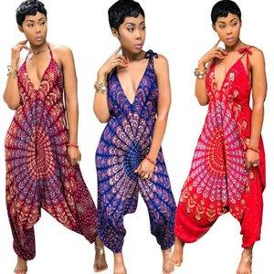Dashiki Afrique ethnique sexy Barboteuses Femmes Jumpsuit Salopette d'été 2018 Casual lâche Backless Un Pieece Harem Jumpsuit grande taille Robe