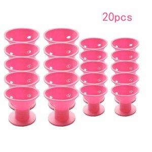 20 STÜCKE Curling werkzeug von rosa magie haarspule kein clip keine heißen silikon lockenwickler professionelle haarwerkzeuge