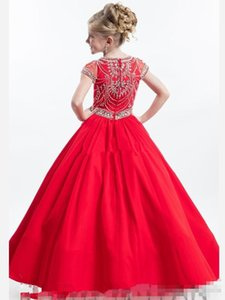 Rachel Allan Red Junior Girls Pageant Dresses for Teens with Short Sleeve Crew Beading Crystal 2018 Cheap Flower Girl Dress Baby Party Gowns
