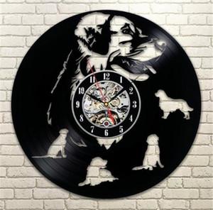 Labrador Retriever cão vinil criativo decoração da casa relógio de parede da sala de parede relógio de parede (Tamanho: 12 polegadas, cor: preto)