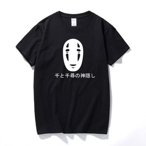 Japon Tarzı Ruhların Kaçışı Mektuplar Baskı T Shirt Pamuk Kısa Kollu Faceless Harajuku T-Shirt Yaz Moda Tees Tops