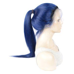 humain à long cheveux raides bleu perruques lace front Brésilien dentelle droites pleines perruques de lacet avec des cheveux de bébé pour la vente