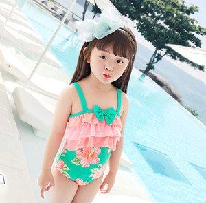 PROSEA Kids 숄더 스트랩이있는 원피스 수영복 Baby Girls 꽃 무늬 패치 워크 수영복 수영복 Children 's Swimwear Beachwear
