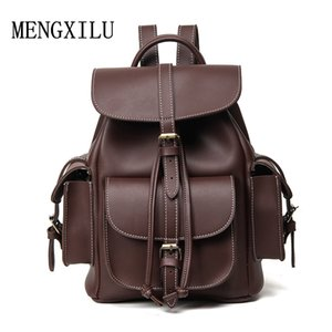Famale England Style Designer High Quality Pu Leather Backpack Men Sac a Dos Black 2017 New  Bag Women Backpack