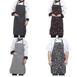 Réglable Pattern Chef Tabliers Waiter Kitchen Cook Tablier Bib Dress pour Restaurant Baking Womens Mens 4 styles