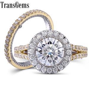 TransGems 3 карата F бесцветный круглый муассанит обручальное обручальное кольцо комплект лаборатории алмаз акценты твердые 14K женщины 2 шт. S923