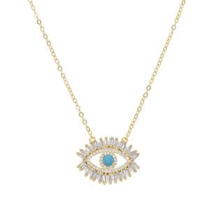 18k позолоченный турецкий сглаза ожерелье счастливая девушка подарок багет цирконий бирюзовый geomstone высокое качество сглаза ювелирные изделия