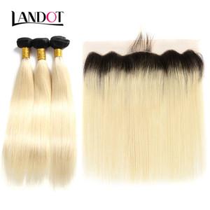 9A Ombre 1B / 613 Bleach Blonde 13x4 Frontal Del Merletto Chiusura Con 3 Fasci Tessuto Brasiliano Peruviano Malese Russo Dritto Vergine Capelli Umani