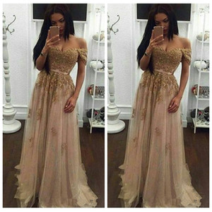 Off Ombro Gold Lace Appliques Prom Vestidos Long 2021 Sweetheart Tulle formal Beading Crystal Night Vestido De Noite Vestido de festa de noite