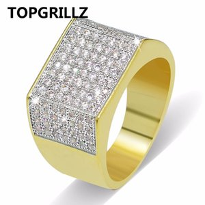 TOPGRILLZ Hip Hop Bling Кольца Все Iced Out Real Micro Pave CZ Прохладный Мужские Женщины Пара Золото Серебро Хип-Хоп Кольцо