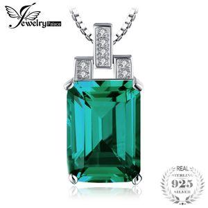 JewelryPalace 6CT Verde Criado Emerald Necklace pingente prata esterlina 925 45 centímetros Fine Jewelry por Mulheres 2018 Hot Sale