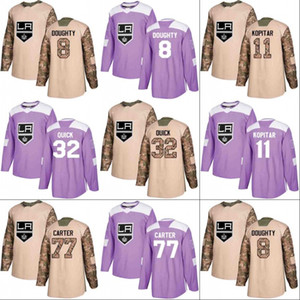 Los Angeles Kings Jersey Veterans Day Fights Cancer Practice 8 Drew Doughty 11 Anze Kopitar 32 Jonathan Quick 77 Jeff Carter Hockey Jerseys