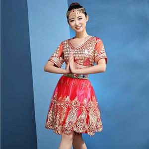 Dança clássica carnaval luxuoso Belly 2 Set Peça (Top + saia) Índia Dancewear orientais mulheres desempenho estágio dança roupas