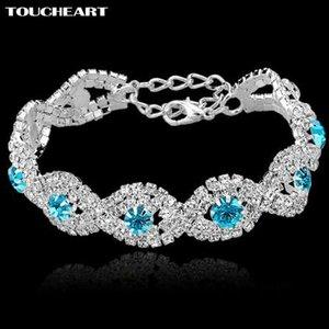 TOUCHEART Luxe Mariage Cristal Autrichien Bracelets Avec Des Pierres Pour Femmes Argent couleur Bracelets Bracelets Turc Bleu Bijoux