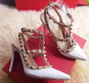 Марка Женщины Туфли на высоком каблуке Свадебная обувь Женщина Высокие каблуки Обнаженная Мода Лодыжки Ремни Заклепки Обувь Сексуальная Высокие Каблуки Свадебная обувь Размер 35-41