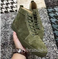 New womens mens high top green suede red bottom casual shoes,fashion gentleman designer lace-up sneakers size 36-46