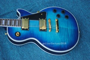 Factory Custom Blue Electric Guitar with Flame Maple Veneer,Gold Hardware,Rosewood Fretboard,White Binding and can be Customized