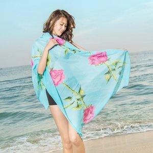 Neue Damenmode Georgette Lange Wrap Schal Strand Seidenschal Schals Mode Accessoires Florial Print 200 * 100 CM