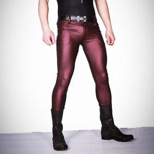 Sexy Hommes Faux En Cuir Mat Mat Crayon Pantalon Pantalon Maigre Leggings Décontractés Slim Fit Serré Zipper Erotic Lingerie Club Wear
