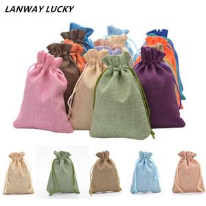5psc / set 10x14 cm handmade sacchetto di iuta regalo di lino burlap treat bag per baby shower decorazione decorazione della festa nuziale wrapping bags