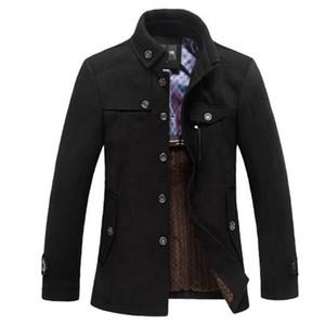 Clásica capa de las lanas de los hombres de guisante Manteau Homme 2016 Mens de la manera invierno gruesa cachemira Casual Marca abrigos de lona chaquetón 3XL
