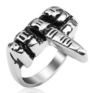 Punk Estilo mão anel para homens fresco Mens aço inoxidável 316L Anel Banda jóias de luxo com caixa de Free For Men Pai Irmão Partido