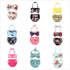INS 9 Styles Filles Coloré Grand Bow Hanging Neck Halter Bra Bikini Bébé Sling Deux Pcs Maillot De Bain Summer Flowers Rayé Enfants Beachwear
