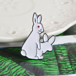 Kawaii WhiteRabbit Pin Back Button Enamel Brooch Cute Animal Gift Rabbit Badge Funny Animal Pins for Backpack Badge