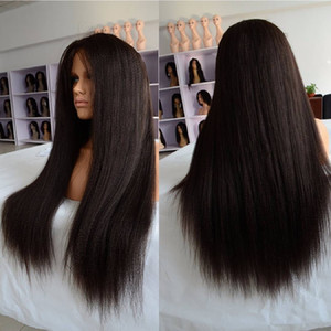 Unprocessed virgin remy human hair long natural color yaki straight full front lace wig attractive for women