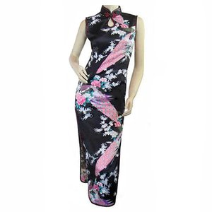 Alta moda nero cheongsam mujeres vestido vendita calda delle donne cinesi lungo qipao rayon vestito di seta fiore taglia s m l xl xxl j5114