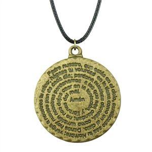 WYSIWYG 5 шт. кожа цепи ожерелья подвески колье воротник мужской ожерелье мода круглый Аминь Библия 32x28mm N6-A12117