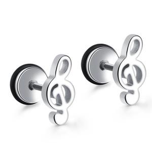 Unisexe Hommes Femmes 316l Boucles d'oreilles en acier inoxydable Stud Music Note Bijoux Pas Allergy Accessoires à haute qualité OE418