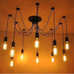 Araña Colgante de Luz Vintage Edison Múltiples Ajustable DIY Lámpara de Techo Moderna araña para Chic Industrial Comedor