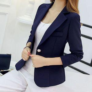 * Blazer Kadınlar Yeni Gelenler 2018 Bayanlar Blazers Kol Uzun İş Ofis Suit Ceketler Kadın Mavi Mor Gri Blaser Femme *