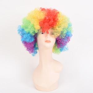 Cadılar bayramı Renkli Palyaço Cosplay Peruk Patlayıcı Kafa Bobo Çocuklar Için Sentetik Isıya Dayanıklı Kabarık Saç Kostüm Partisi Gökkuşağı Peruk Caps