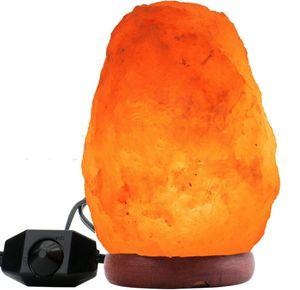 Glühen Sie Hand geschnitzte natürliche Kristall-Himalajasalz-Lampe mit echter hölzerner Basis, Birne und auf und aus Schalter LLFA