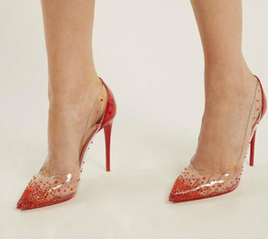 Mode Plexiglas Klar PVC Mit Kristall High Heels Damenschuhe Spitz Pumps Rot Lackleder Party Hochzeit Schuhe Frau