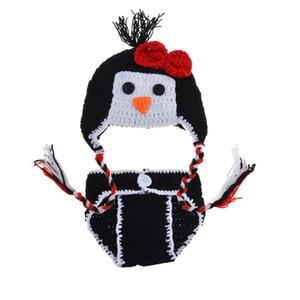 الوليد البطريق تتسابق ، اليدوية الكروشيه حك طفلة الحيوان البطريق قبعة وحفاظه تغطية مجموعة ، طفل رضيع صور الدعامة