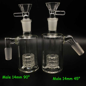 Vetro Ash Catchers 14 millimetri 18 millimetri 45 90 gradi con 14 millimetri di vetro Bocce 14 millimetri ashcatcher pneumatici Percolator Per J-Hook Adattatori Glass Bong Oil Rigs