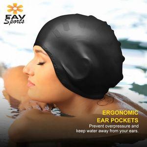 Élastique imperméable bonnet de natation sport long couvre-oreilles oreilles protéger anti-slip piscine chapeau de natation pour adulte bouchon en silicone