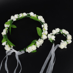 flores de chicas corona pulsera niños de novia de flores artificiales corona de pulsera niños guirnaldas accesorios pulsera de la fotografía pelo A00434