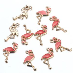 100 PCS 15x26mm Liga Rosa Vermelha Cor Enamel Elegância Animal Acessórios Achados Swan Pingente Flamingo Encantos para Jóias DIY Fazendo