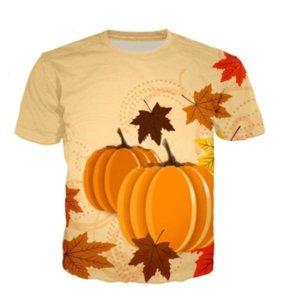 Venta al por mayor-más reciente de moda para hombre / para mujer del estilo del verano de Halloween de calabaza divertido 3D Imprimir Casual camiseta DXR00171
