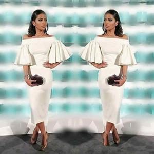 Çay Boyu Kokteyl Elbiseleri 2018 Ruffles Kısa Kollu Arapça Örgün Abiye Balo Parti Törenlerinde Kadınlar için
