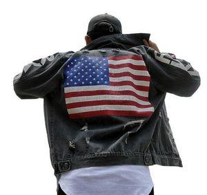 Осень прилив Марка Мужская одежда граффити джинсовая куртка американский национальный флаг печати свободные верхняя одежда старинные потертые отверстие пальто