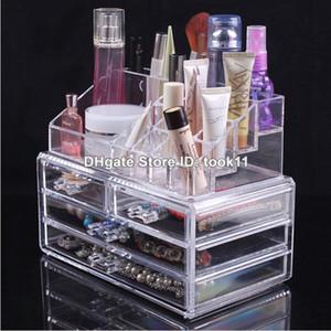 Big cosmétiques maquillage cas organisateur grande boîte de rangement maquillage acrylique rangement porte-tiroir plastique mess bureau maquillage de toilette plus