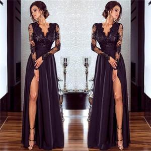 2019 novo design Vestidos split com Tapete Vermelho mangas compridas apliques V Neck alta Slit longo Modest Partido Prom Vestidos Cheap personalizado