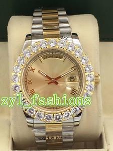 Orologio da uomo di lusso in oro con diamanti, orologio da uomo di bi-oro, orologio da polso di alta qualità